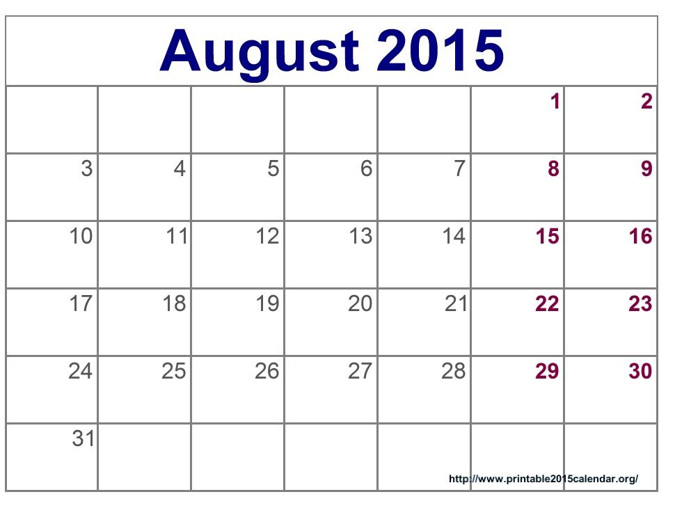 august 2015 blank calendar printable template  word  excel