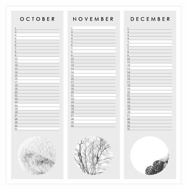 3 months calendar templates October november december 2015
