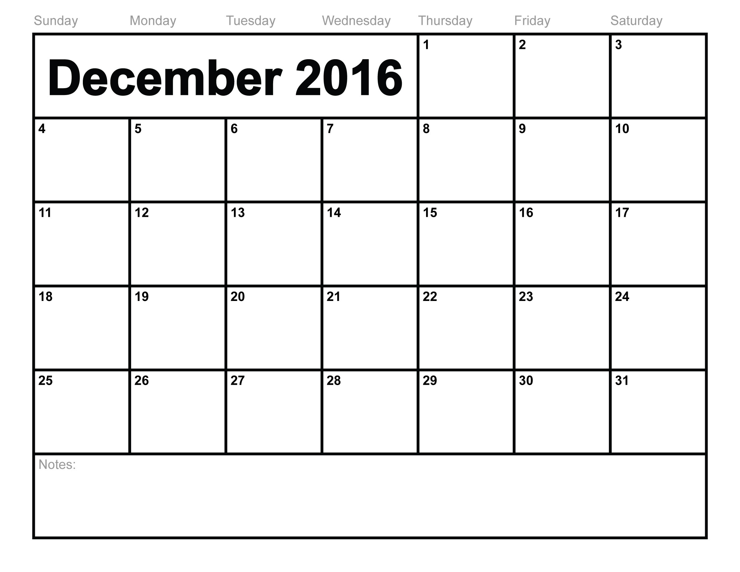 December 2016 Printable calendar | Printable Calendar Templates