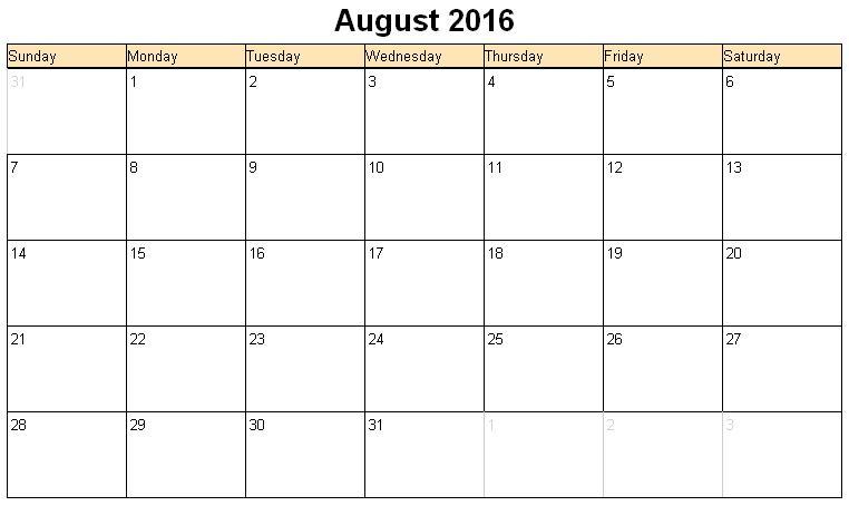 Printable calendar for August 2016