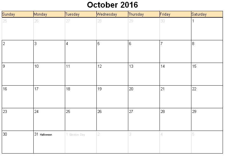 October 2016 Printable calendar | Printable Calendar Templates