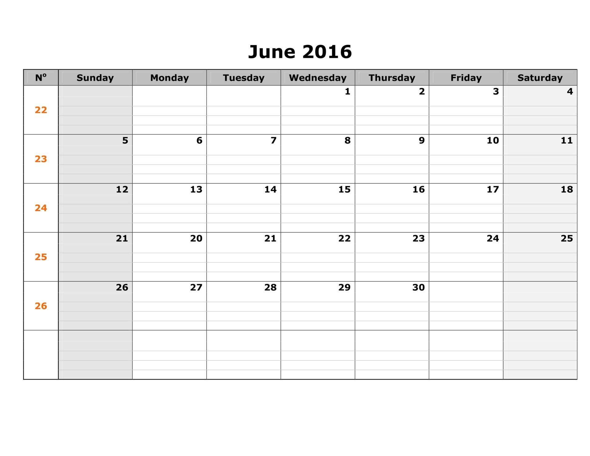 Templates, June 2016 Blank Weekly Calendar, June 2016 Weekly Calendar ...