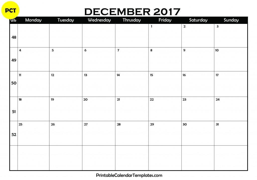 December 2017 Blank Calendar