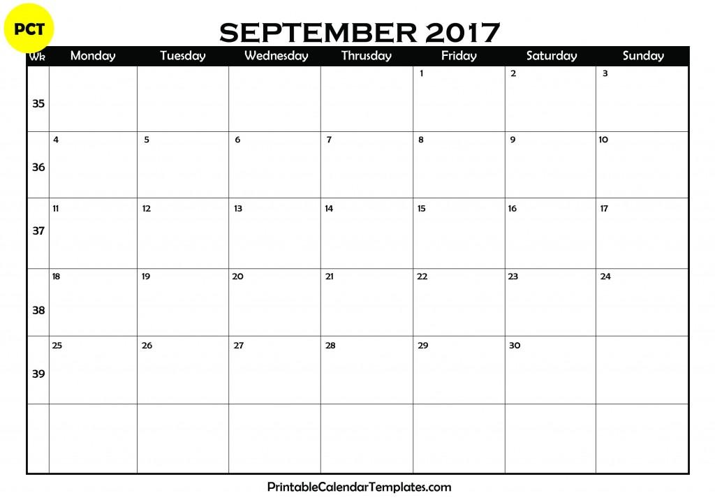 september 2017 blank calendar 3