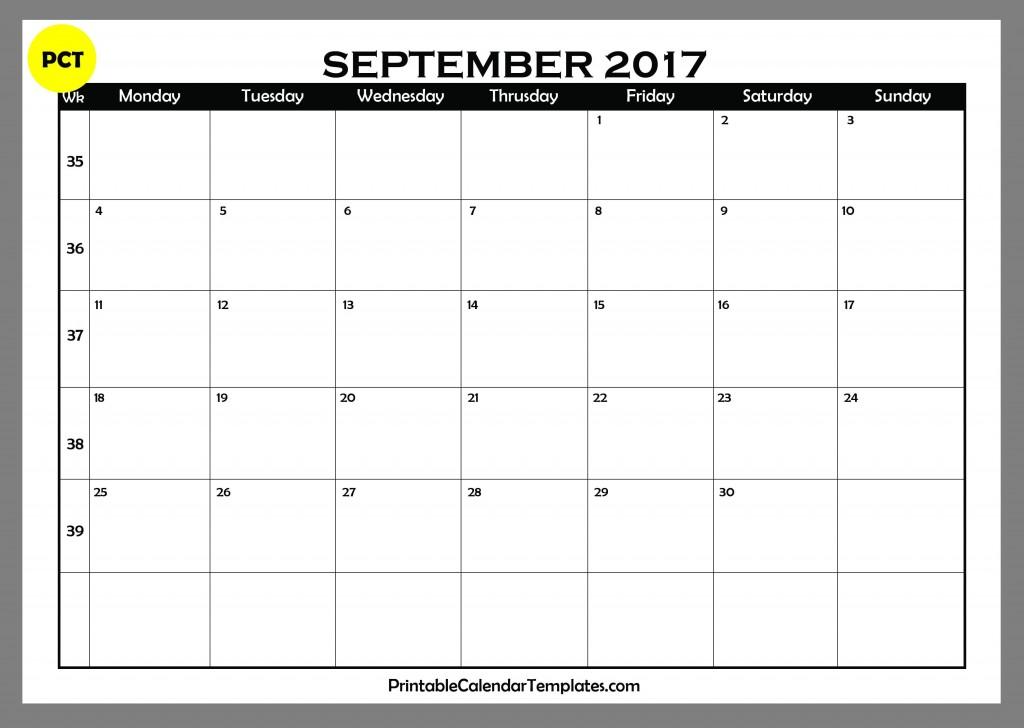 september 2017 blank calendar 4