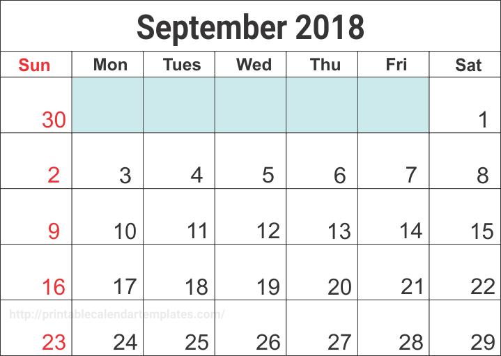 September 2018 Calendar, September 2018 Printable Calendar