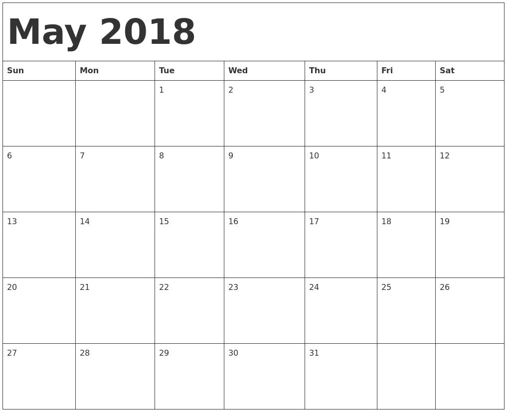 May 2018 Blank Calendar, May 2018 Calendar Template