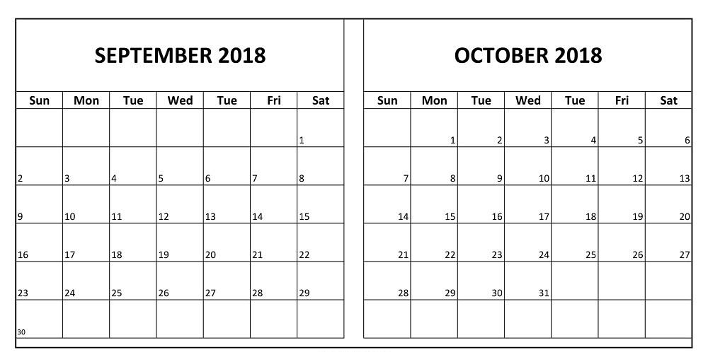 Download September & October 2018 Calendar