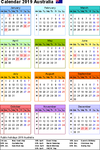 2019 Yearly Printable Calendar with New South Wales (NSW) Holidays