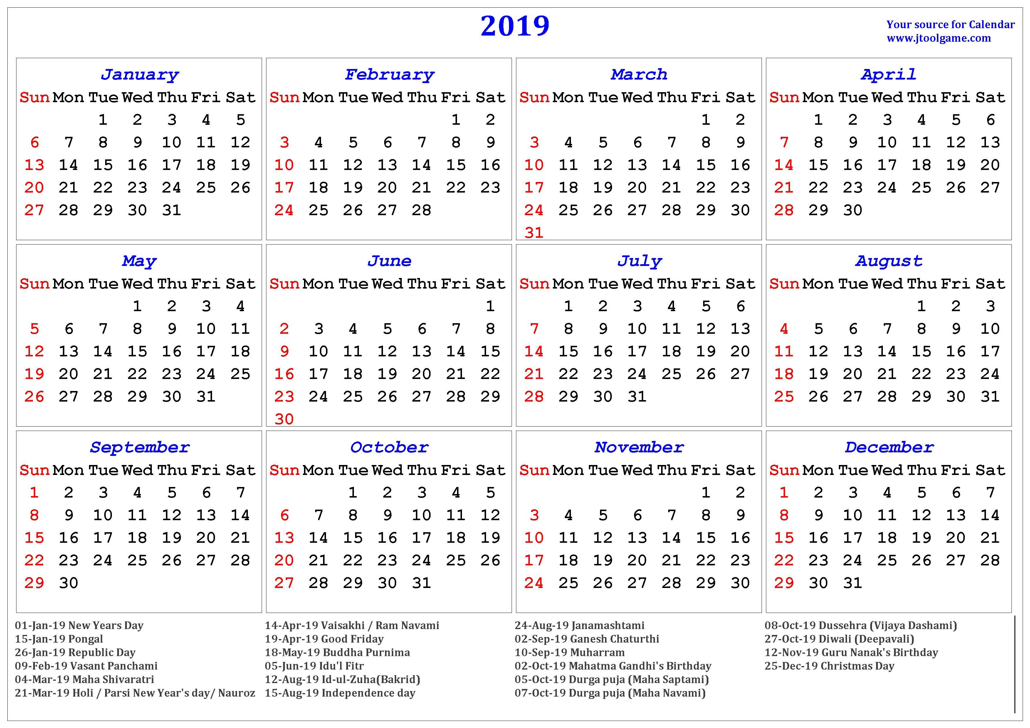 Indian Holidays Calendar 2019