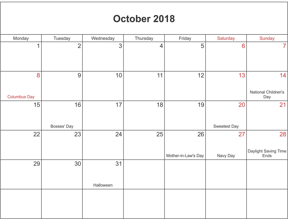 October 2018 Calendar with Holiday