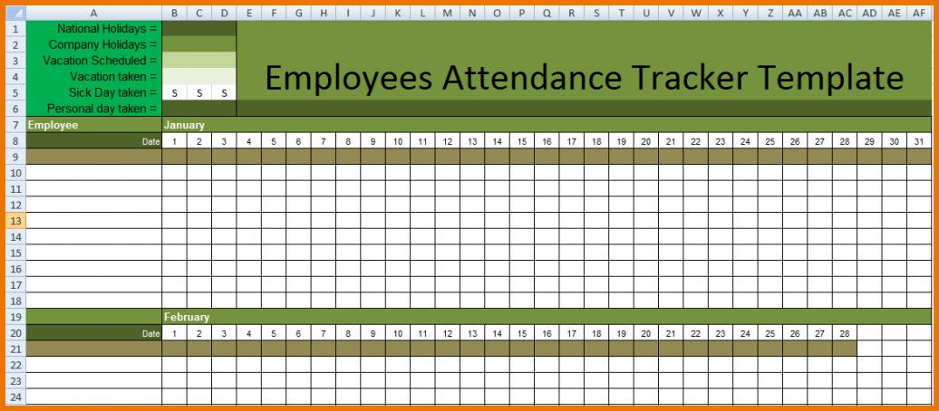 employee attendance calendar tracker template 2019 printable