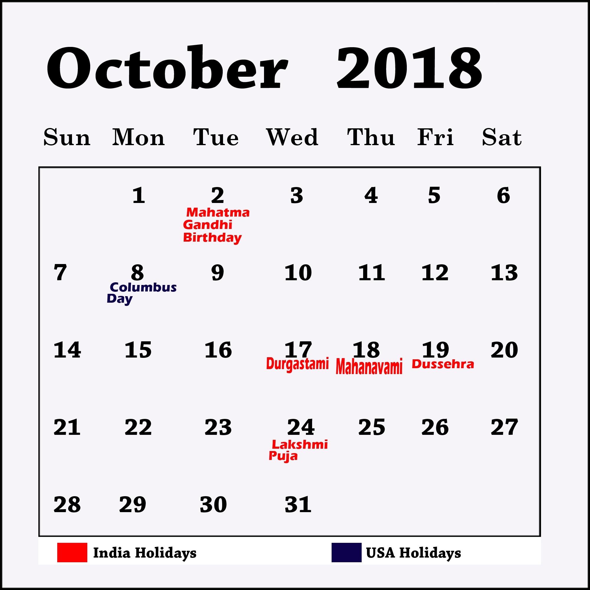 October Holiday Calendar