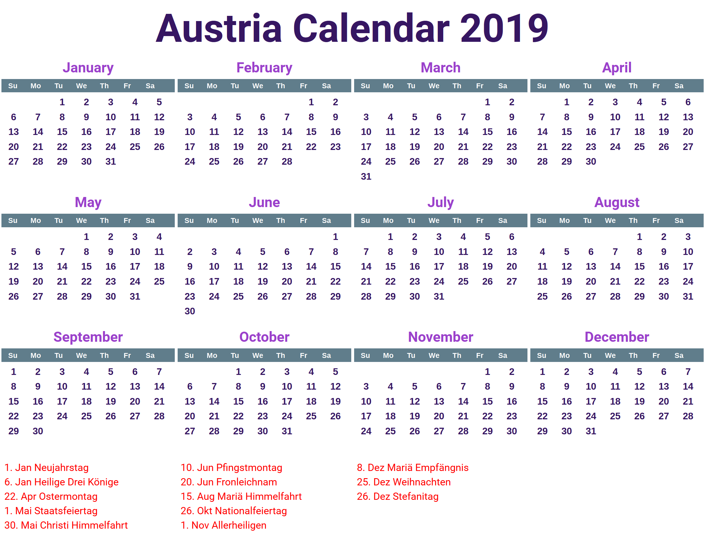 Public Holidays in Austria 2019