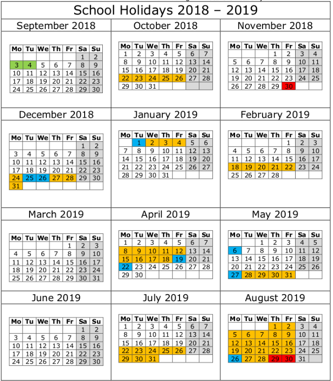 Printable Calendar 2019 NSW (New South Wales)Template