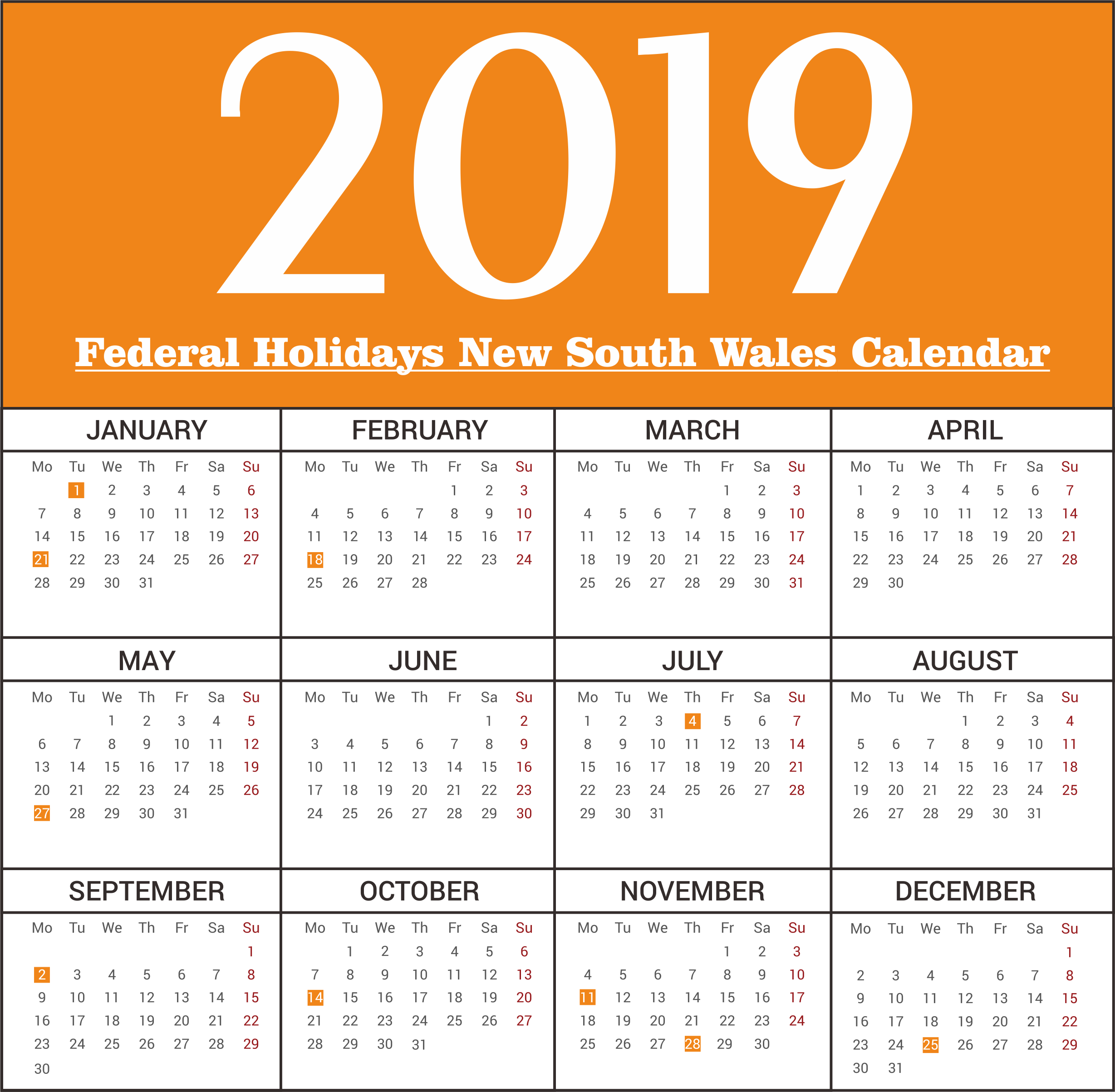 NSW Federal Holiday Print 2019