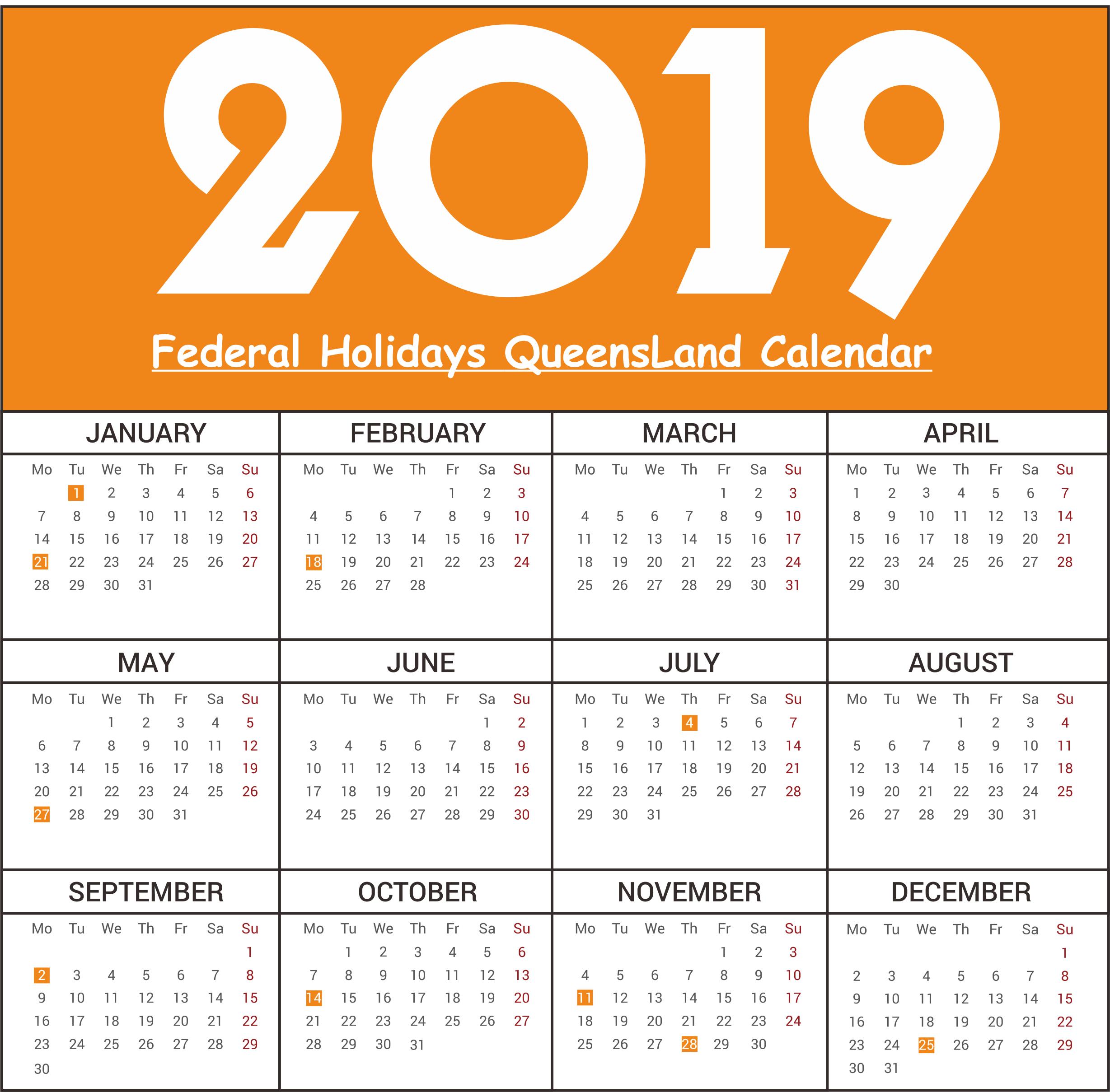 Free QLD Federal Holidays Calendar 2019
