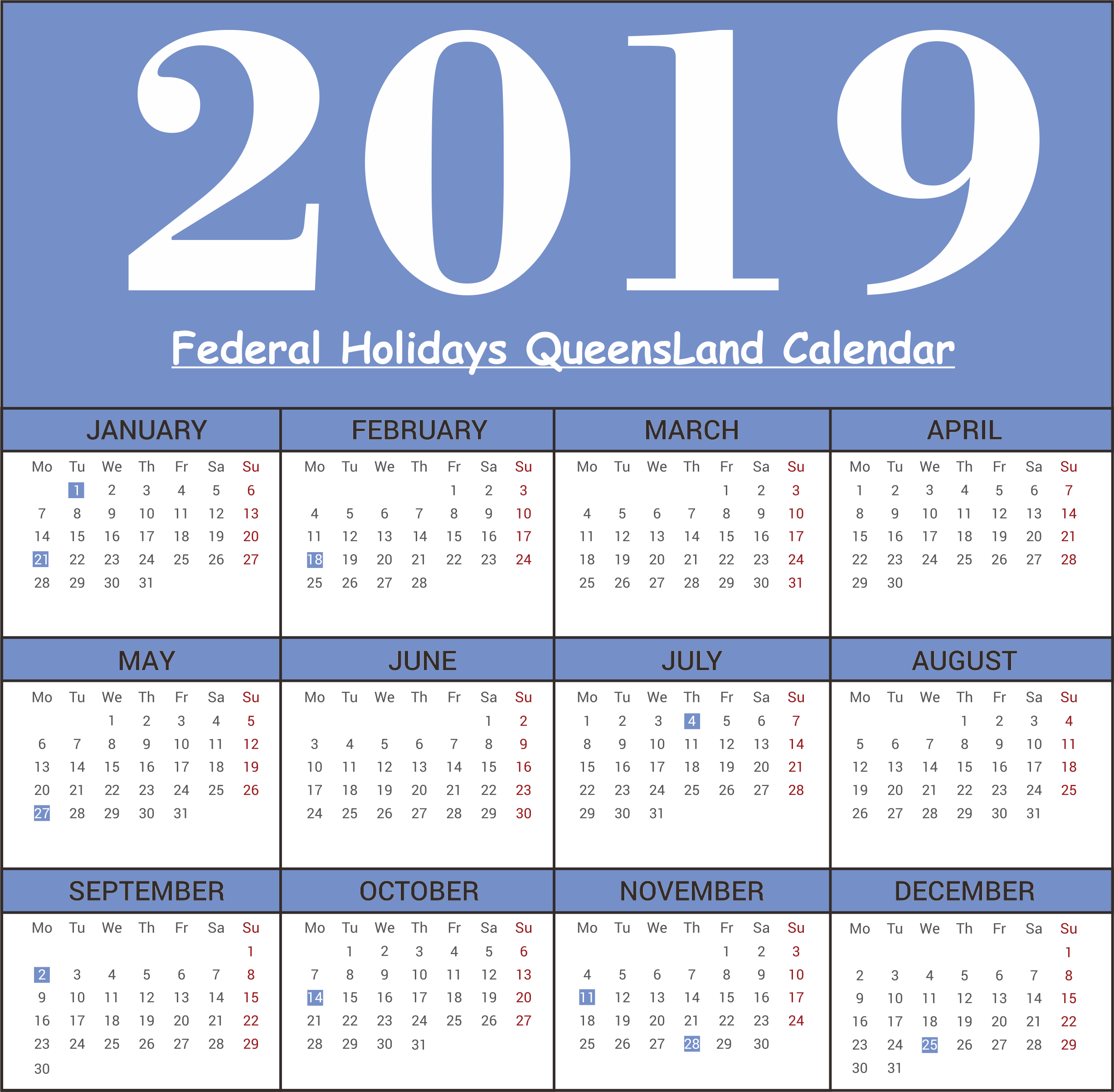 QLD (Queensland) Federal Holiday 2019 Print