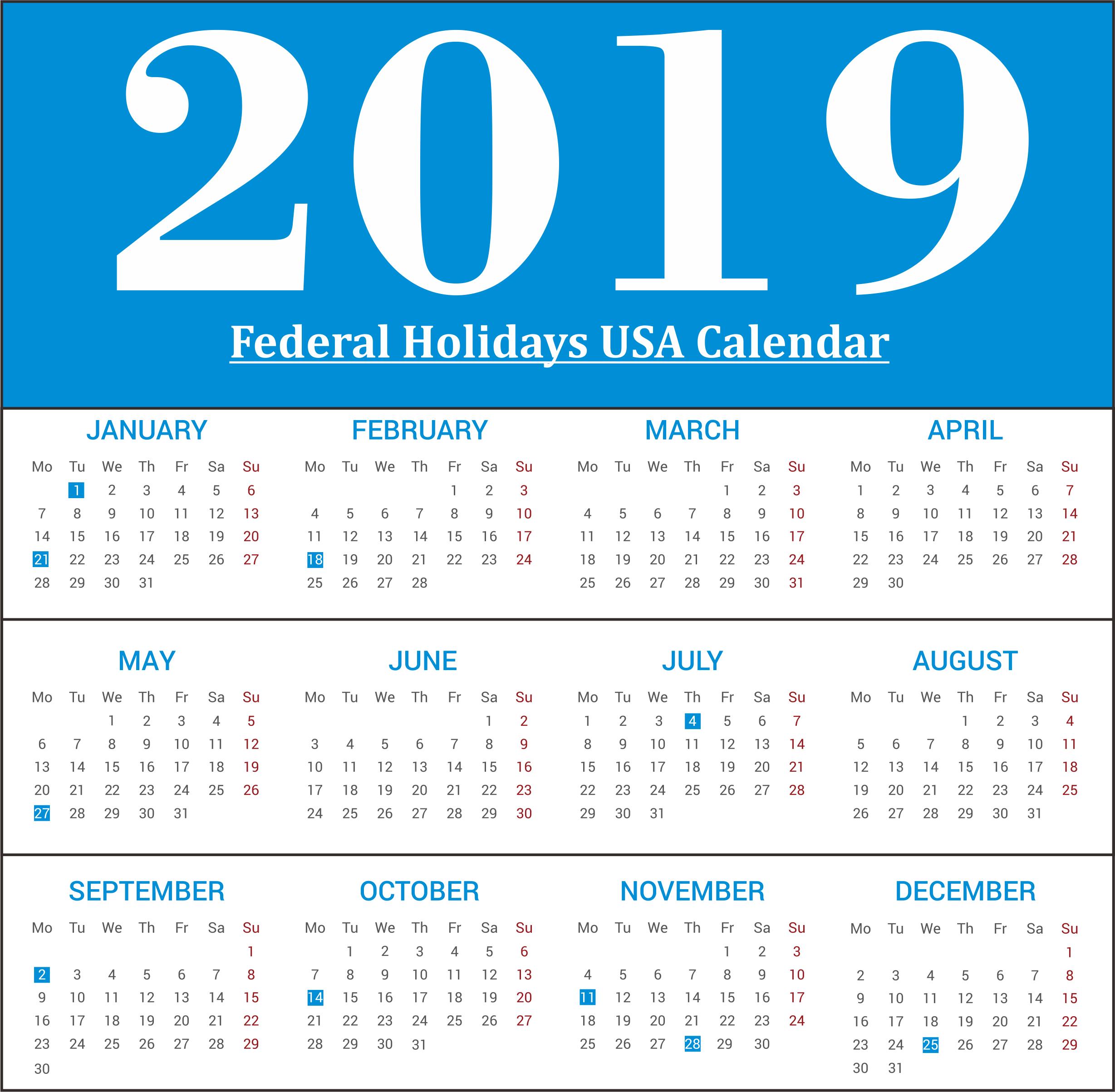 2019 USA Federal Holidays Calendar