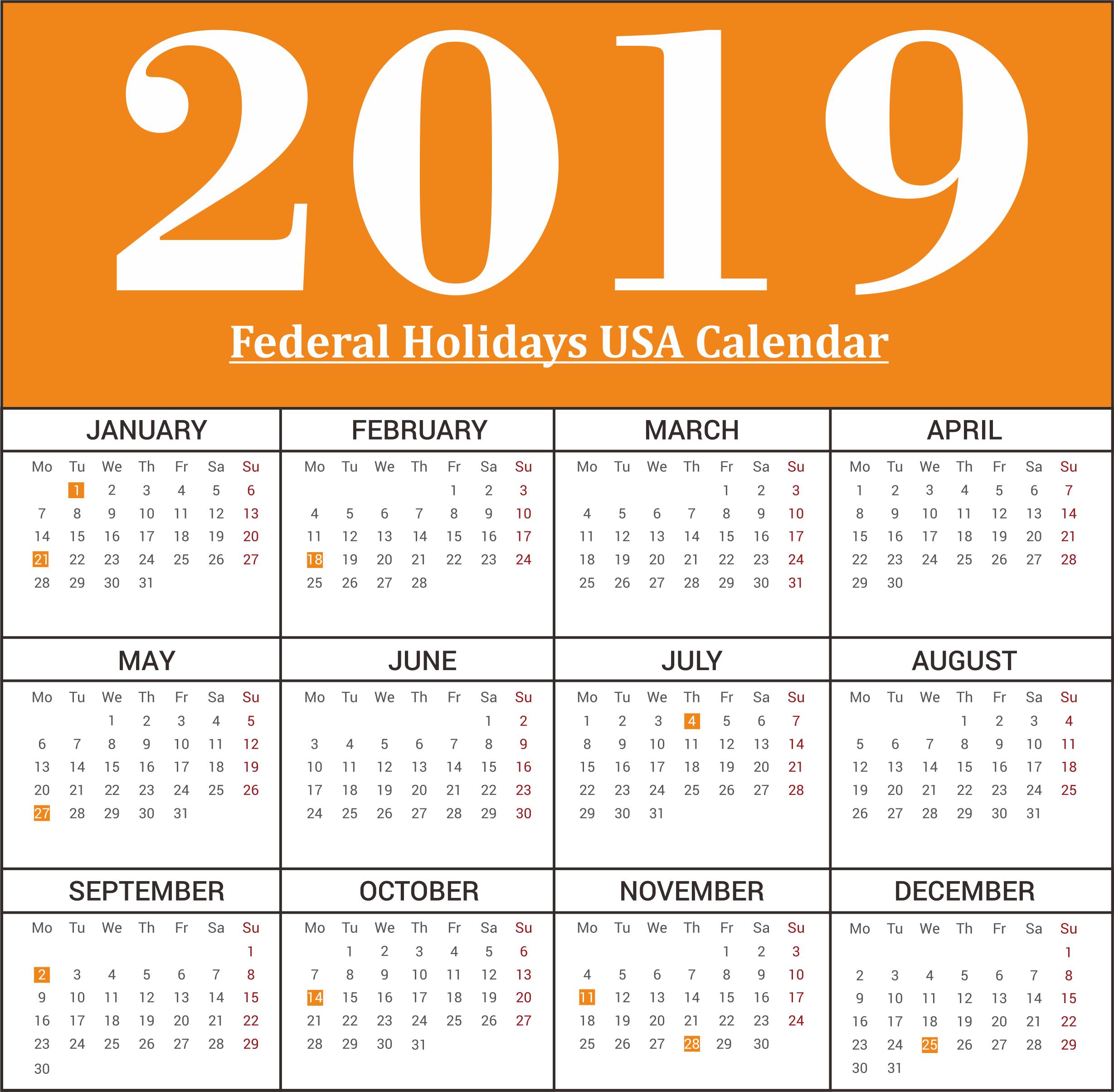 Free 2019 USA Federal Holidays Calendar
