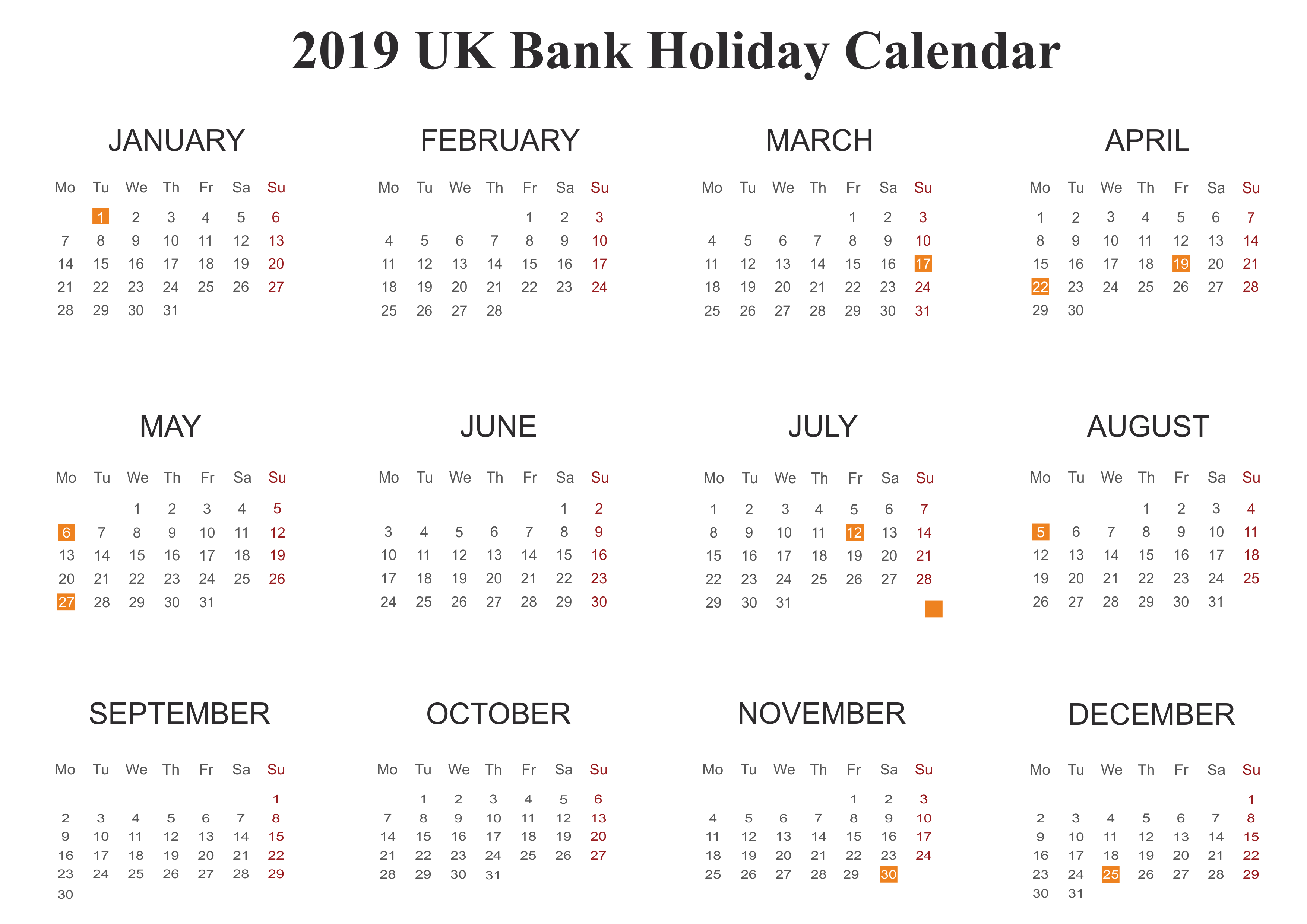 2019 UK Bank Holidays Calendar