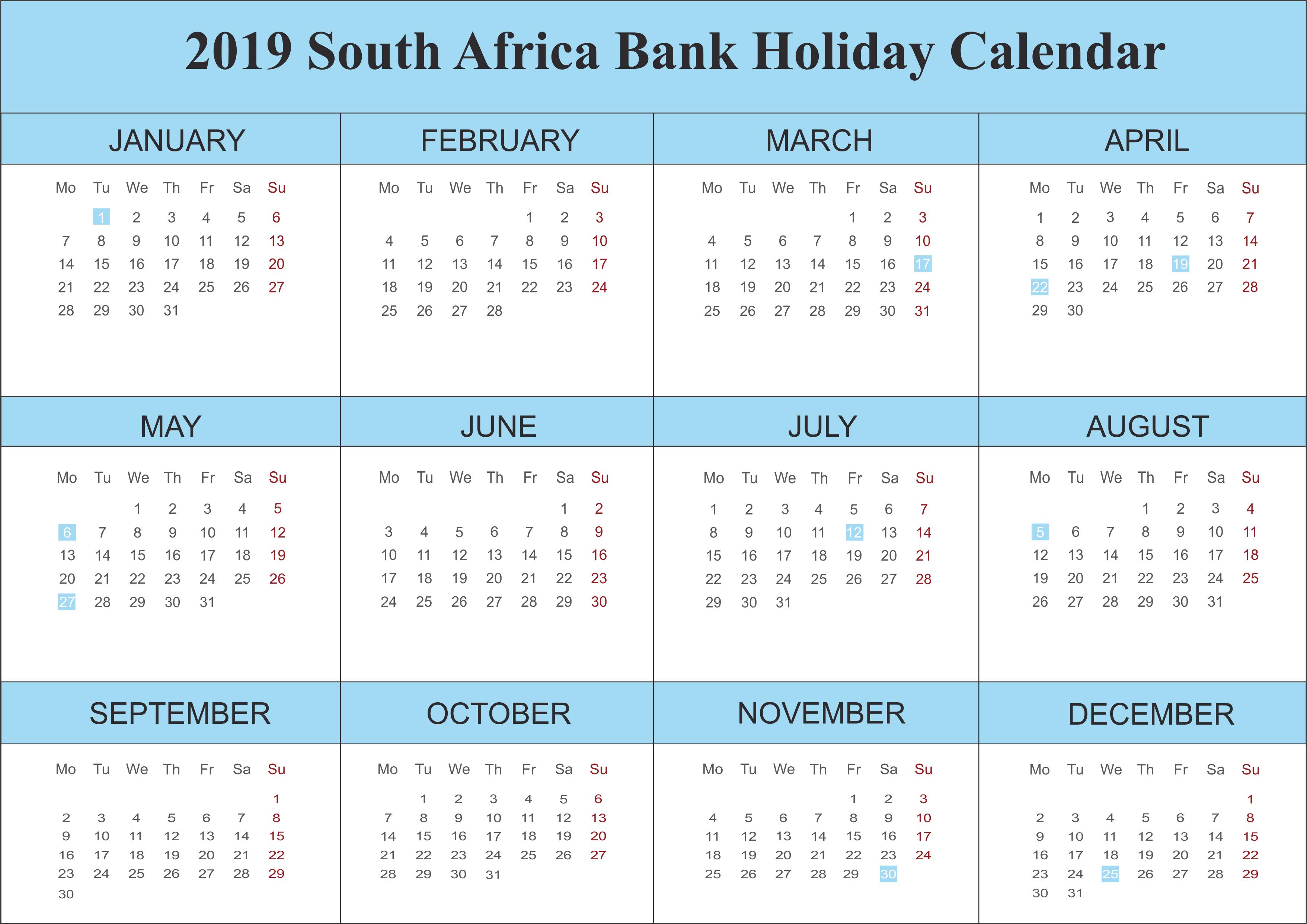 SA Bank Holidays 2019 Templates