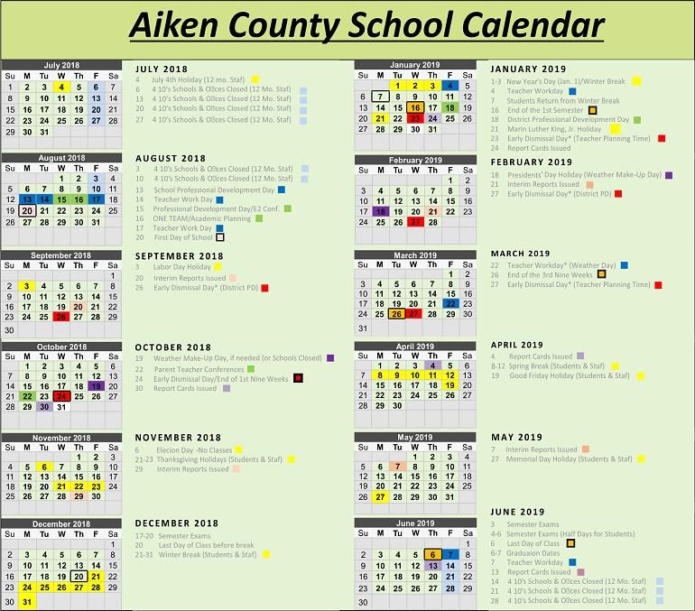 Aiken County School Calendar