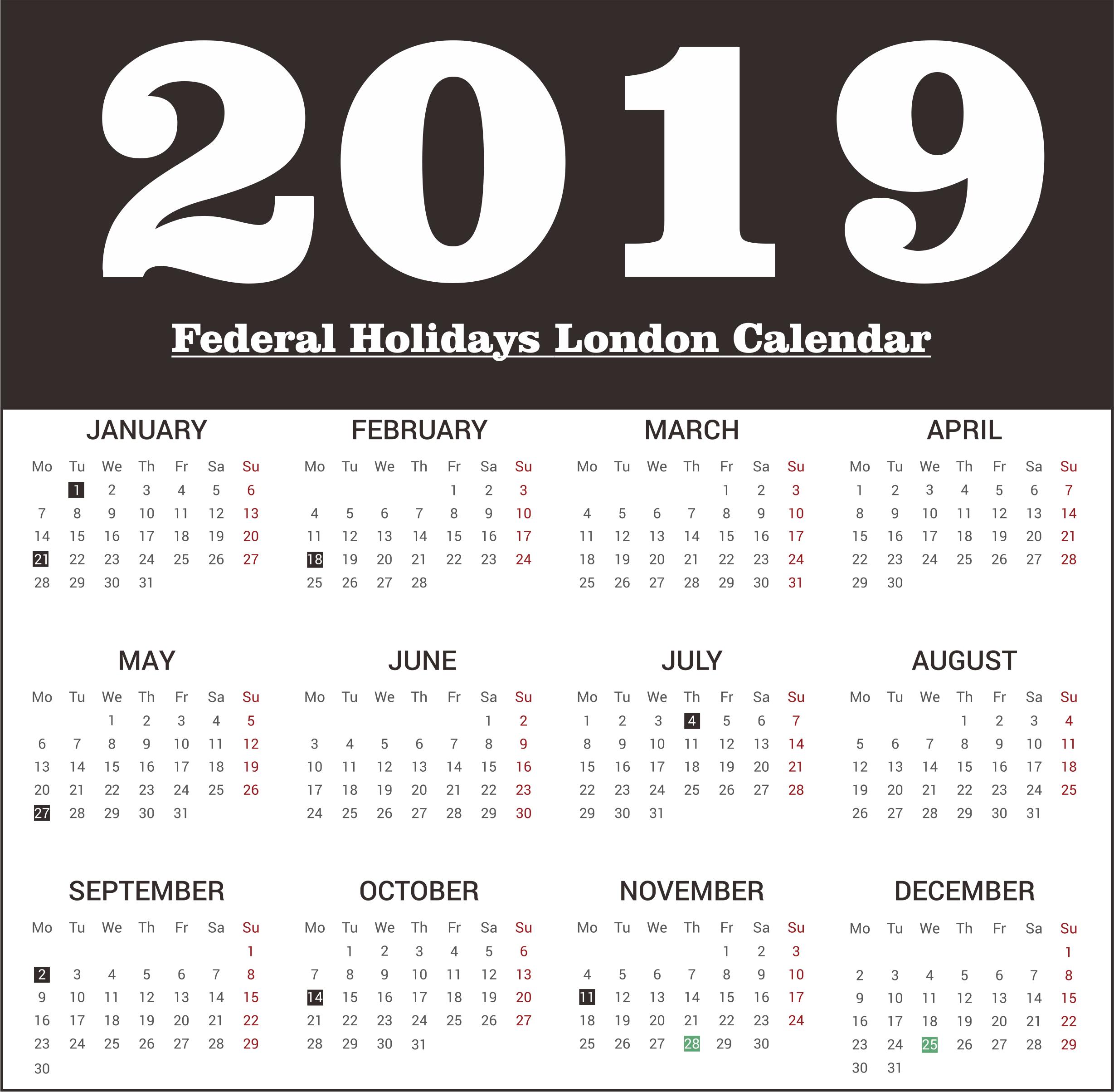 London 2019 Federal Holidays Printable