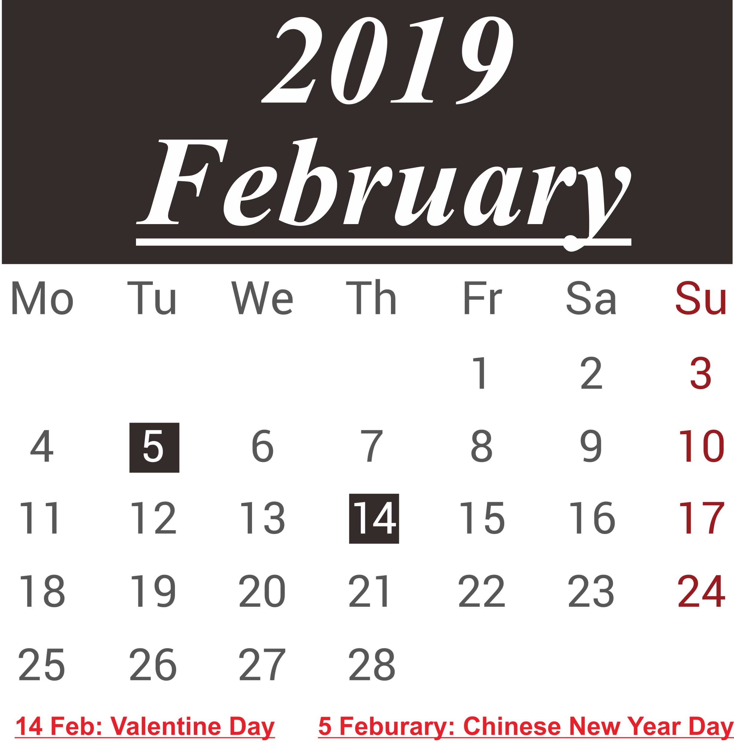 February 2019 Calendar With Holiday