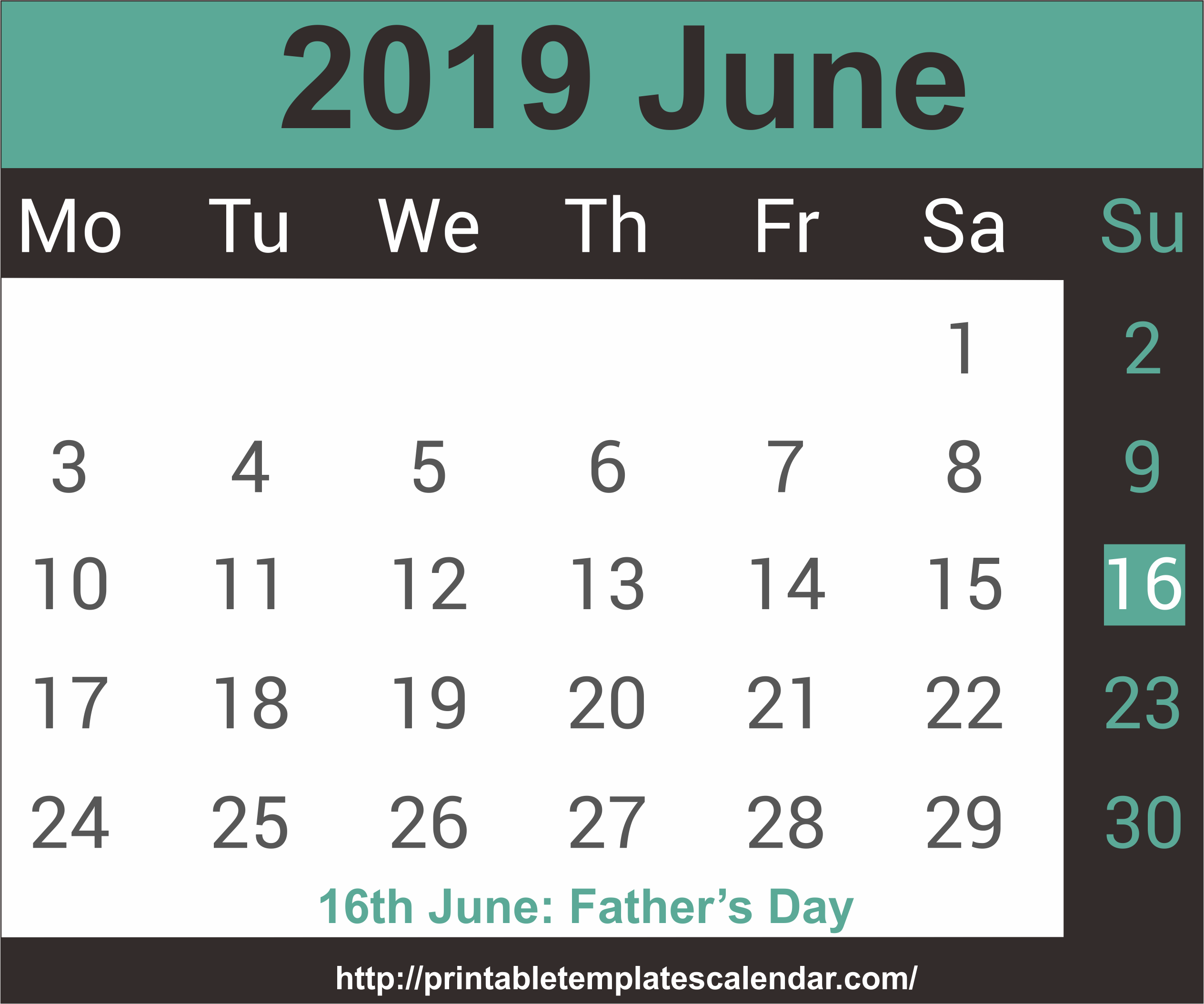 June 2019 Calendar With Holiday