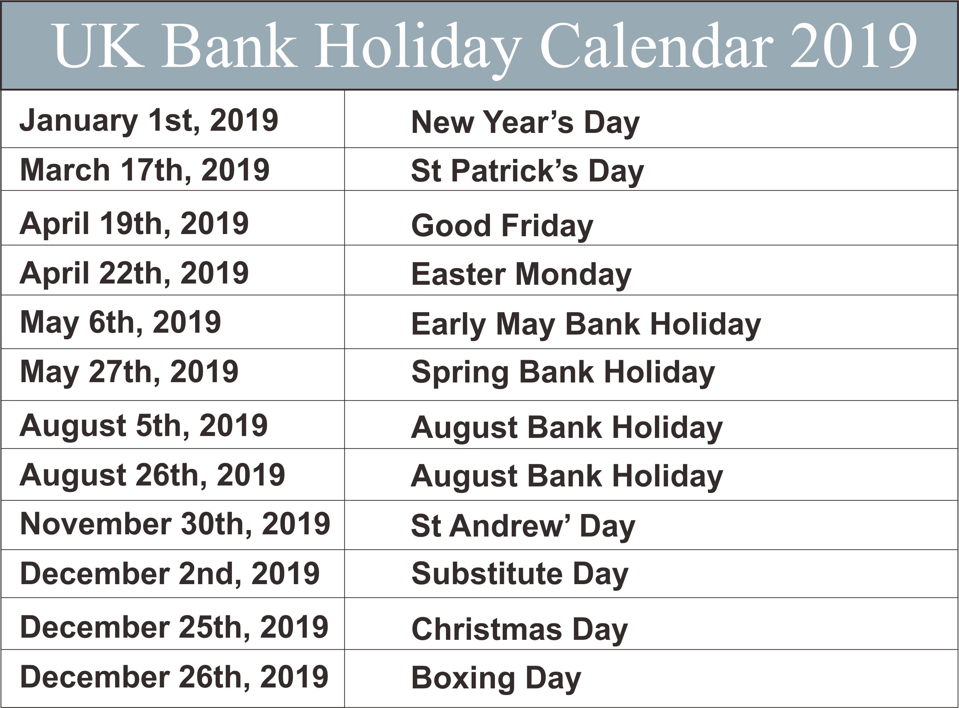 UK Bank Holidays 2019 Templates