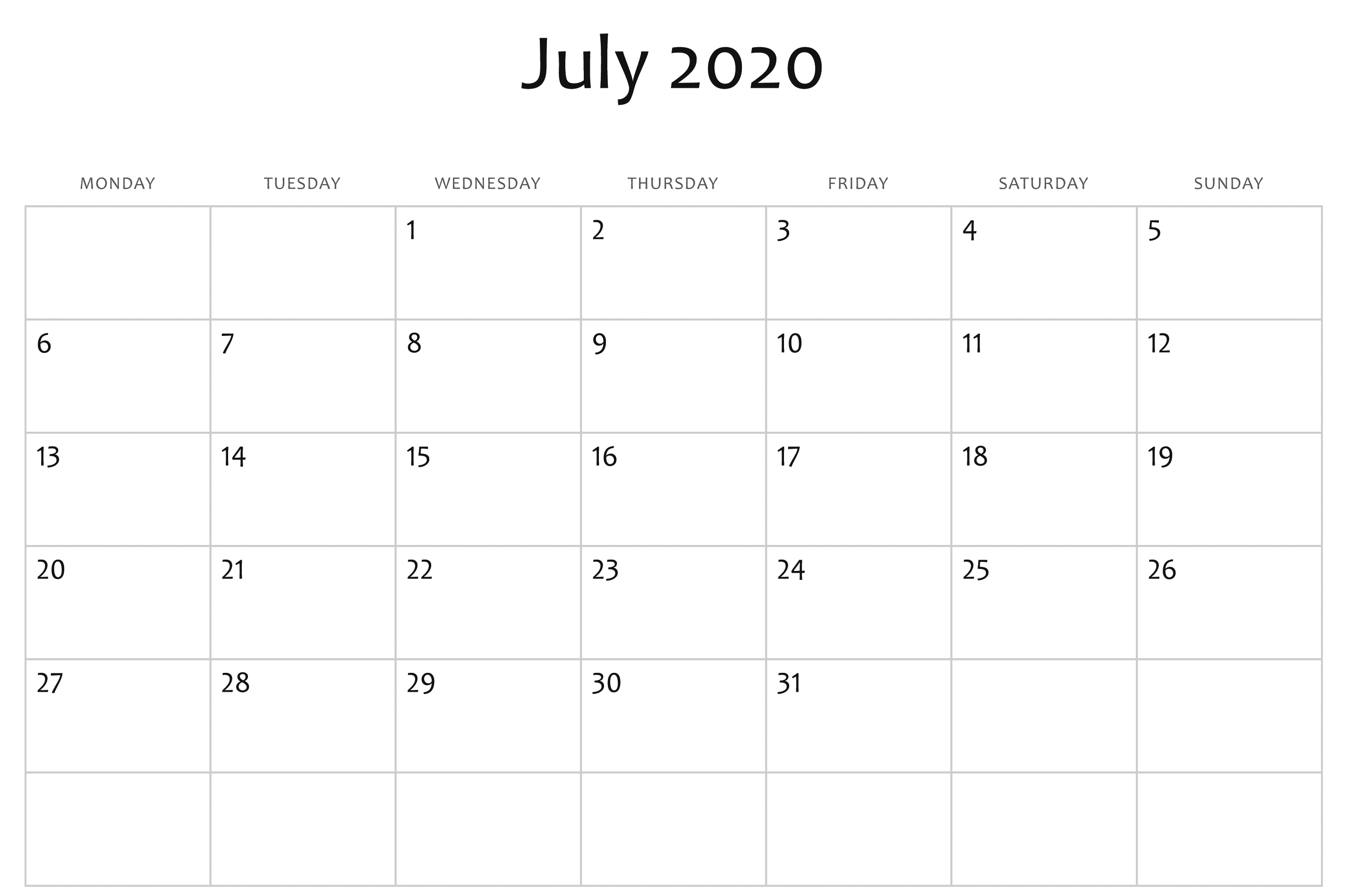 calendar template for word free