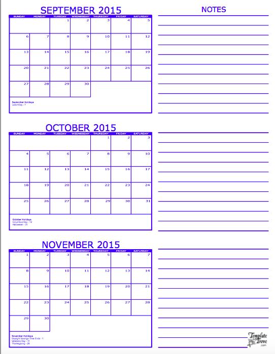... 2015 (3 Month Calendar Printable) | Printable Calendar Templates