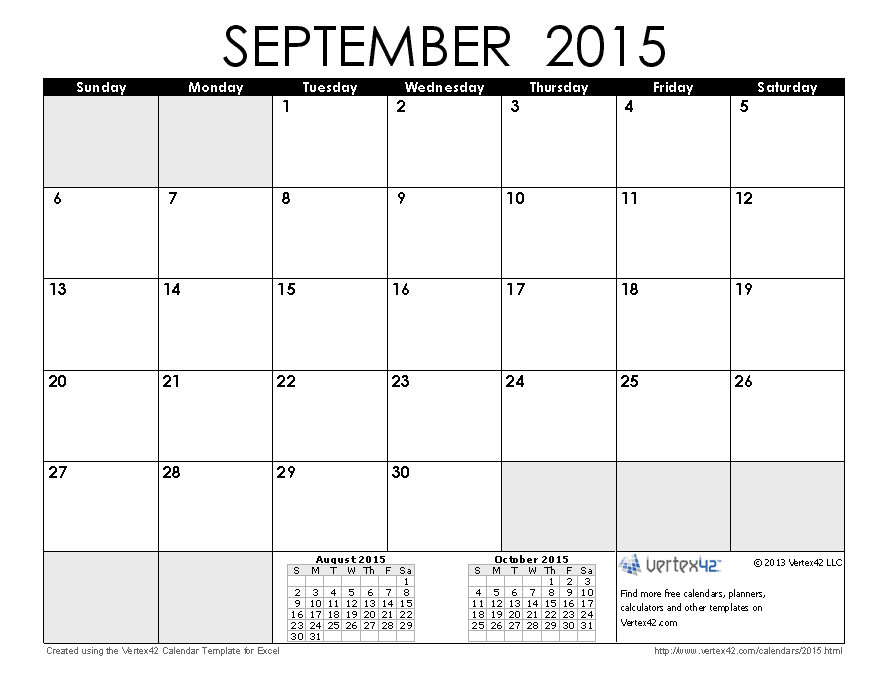 September 2015 free blank printable calendar printable for Australian calendar template 2015