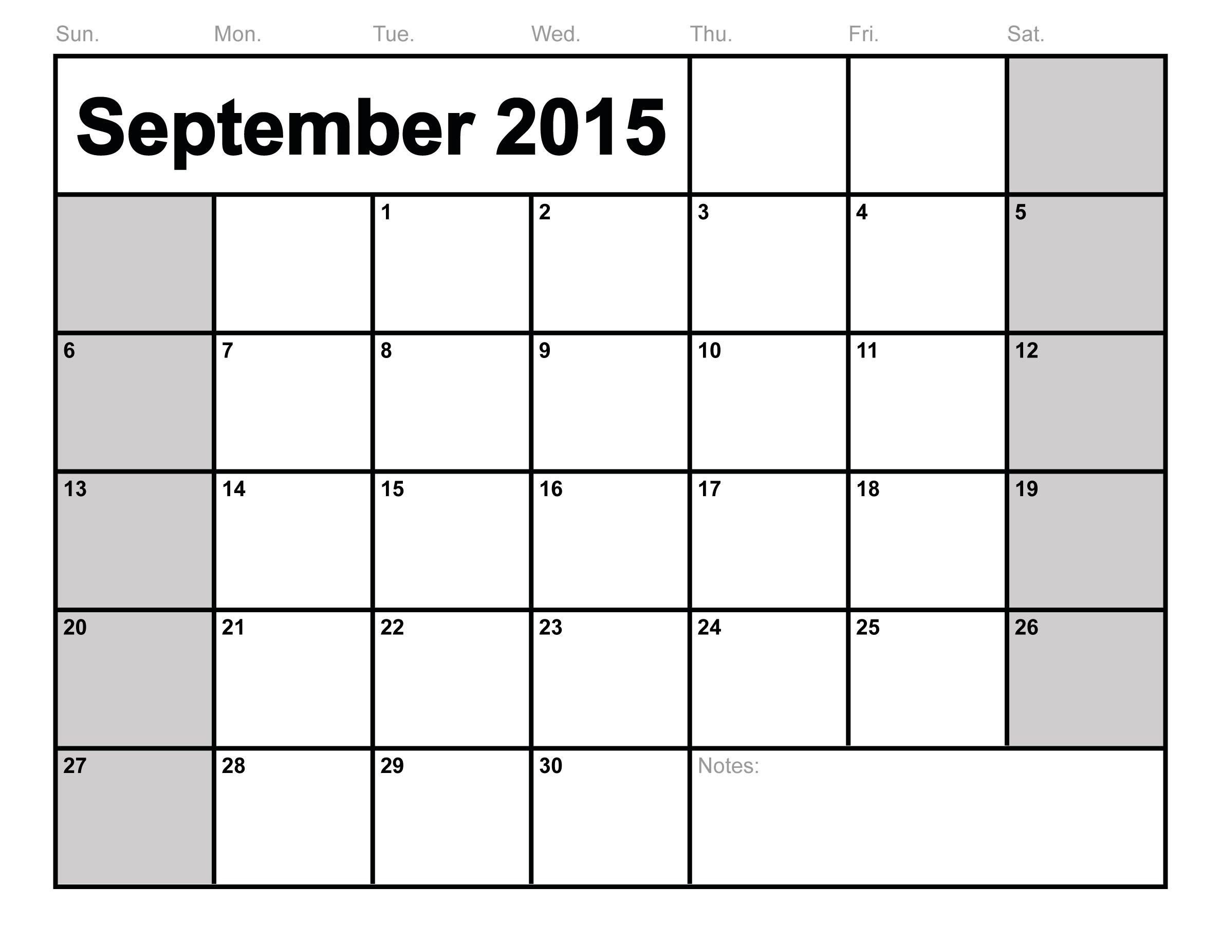 September 2015 Printable Calendar Landscape – Printable Editable ...