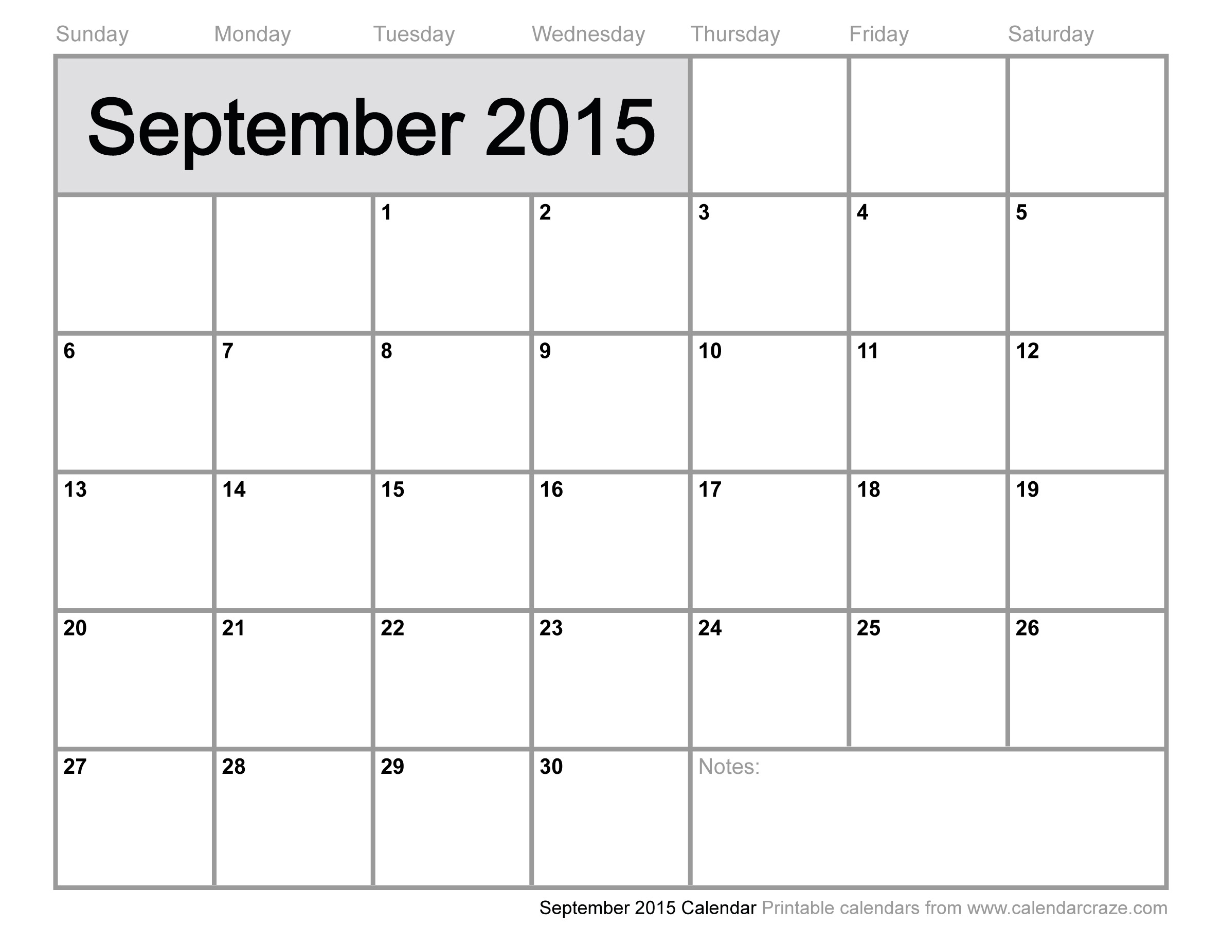 September 2015 free blank printable calendar printable for Free downloadable 2015 calendar template