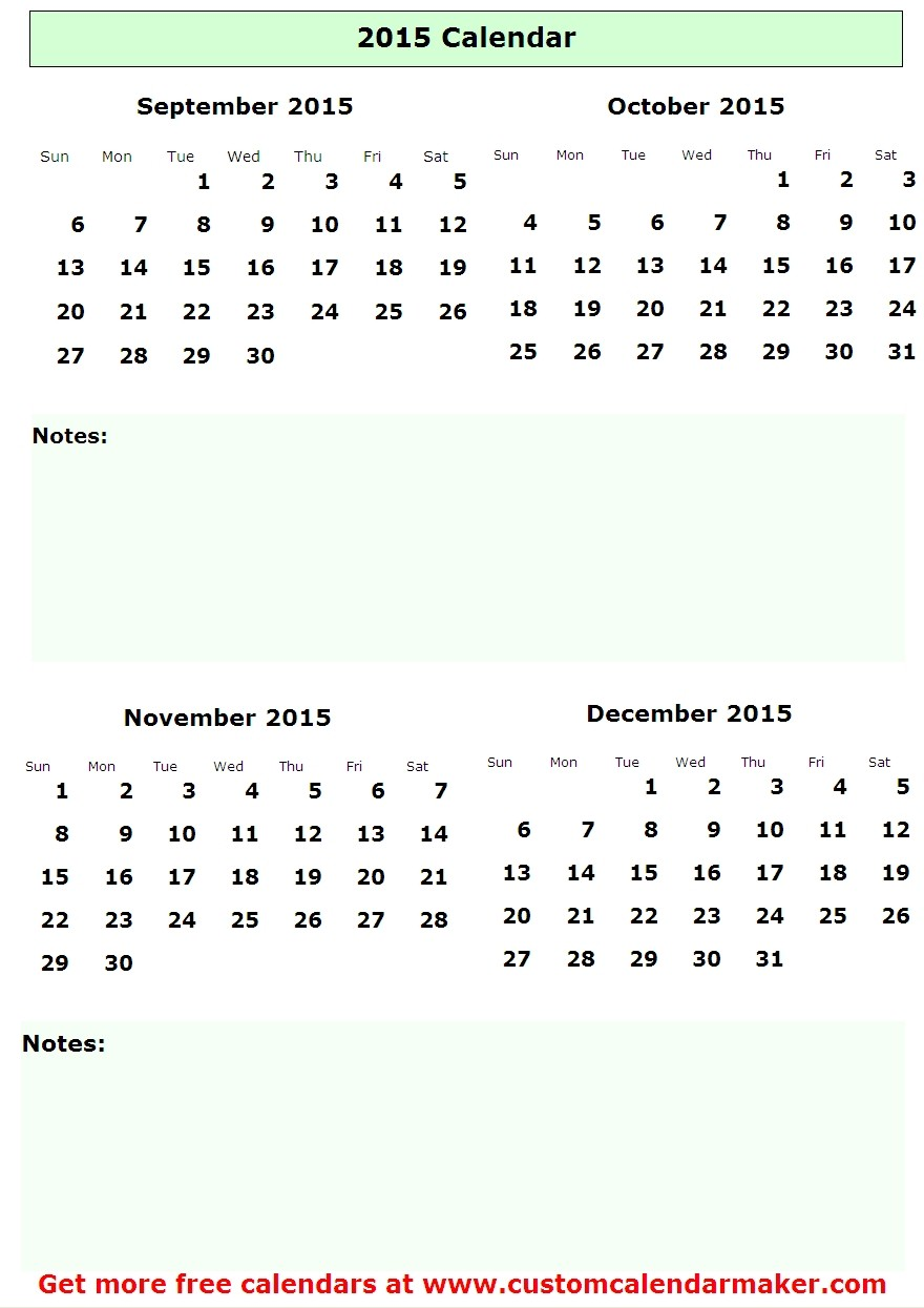 ... Calendar september october november 2015 (3 month calendar printable