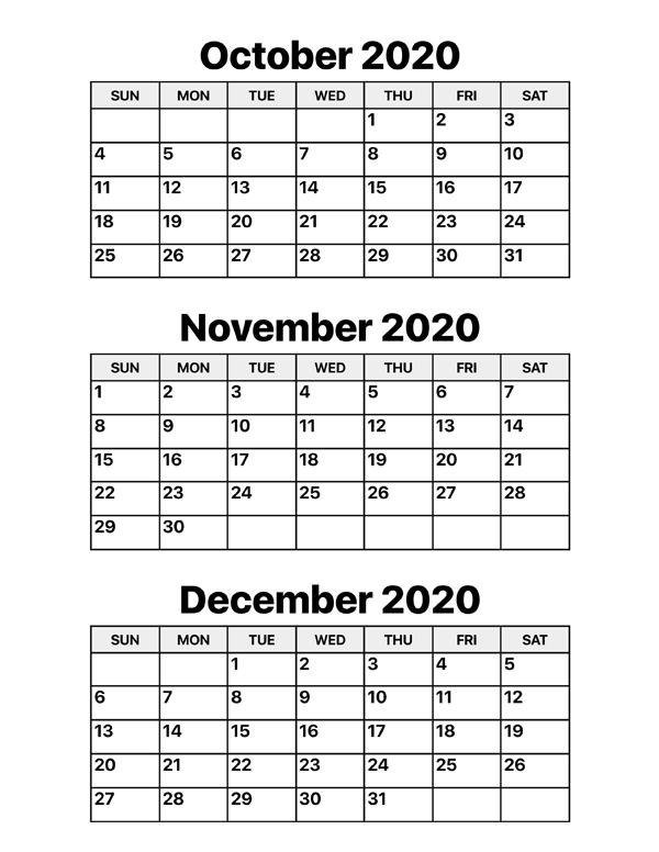 October November December 2020