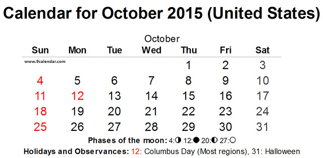 October 2015 Calendar with Holidays USA