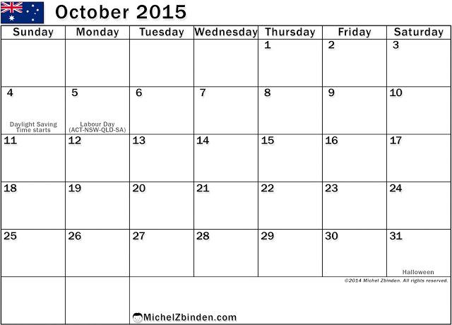 ... 2015 With Holidays – USA, UK, Australia, Canada | Printable Calendar