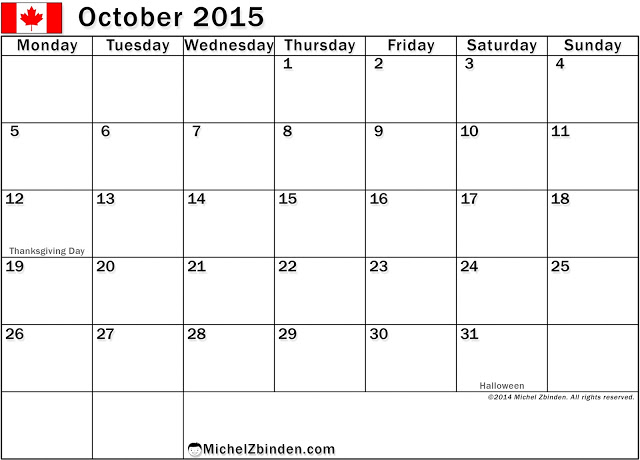 Calendar Templates October 2015 With Holidays – USA, UK, Australia ...