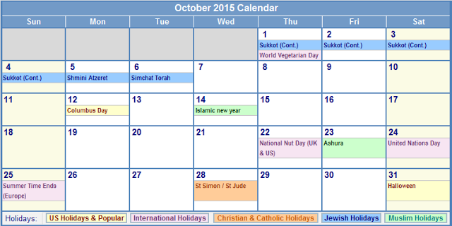 Calendar templates october 2015 with holidays usa uk for 2015 calendar template with canadian holidays