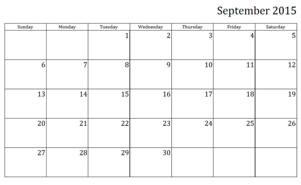 September 2015 Weekly Printable Calendar Printable Calendar Templates