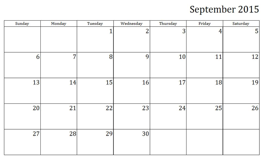 september 2015 weekly printable calendar