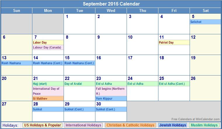 Blank Calendar Template For September 2015