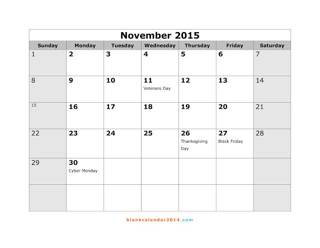 2015 calendar template with canadian holidays - november 2015 calendar with holidays printable calendar