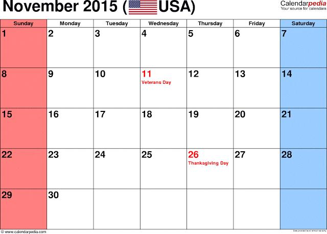 November Calendar 2015 With Holidays : November calendar with holidays printable