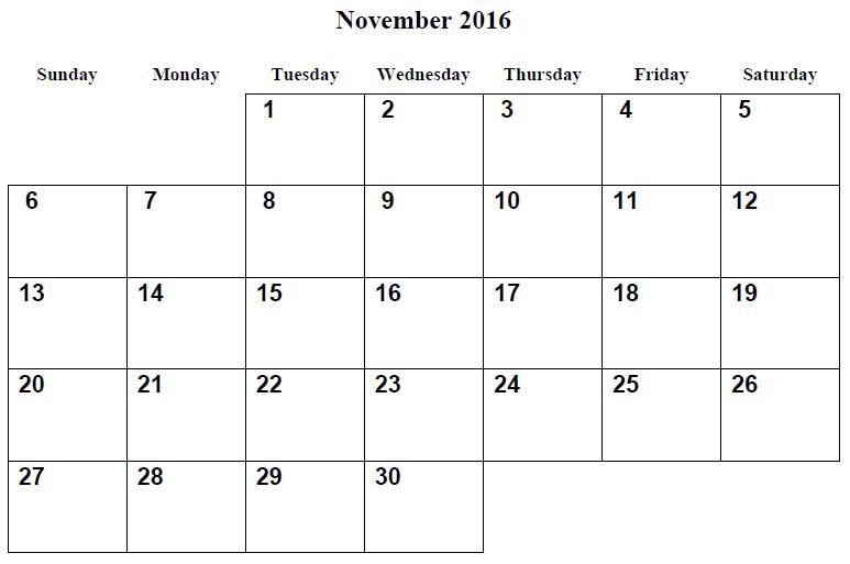 Weekly Calendar November 2016 : November blank calendar printable templates
