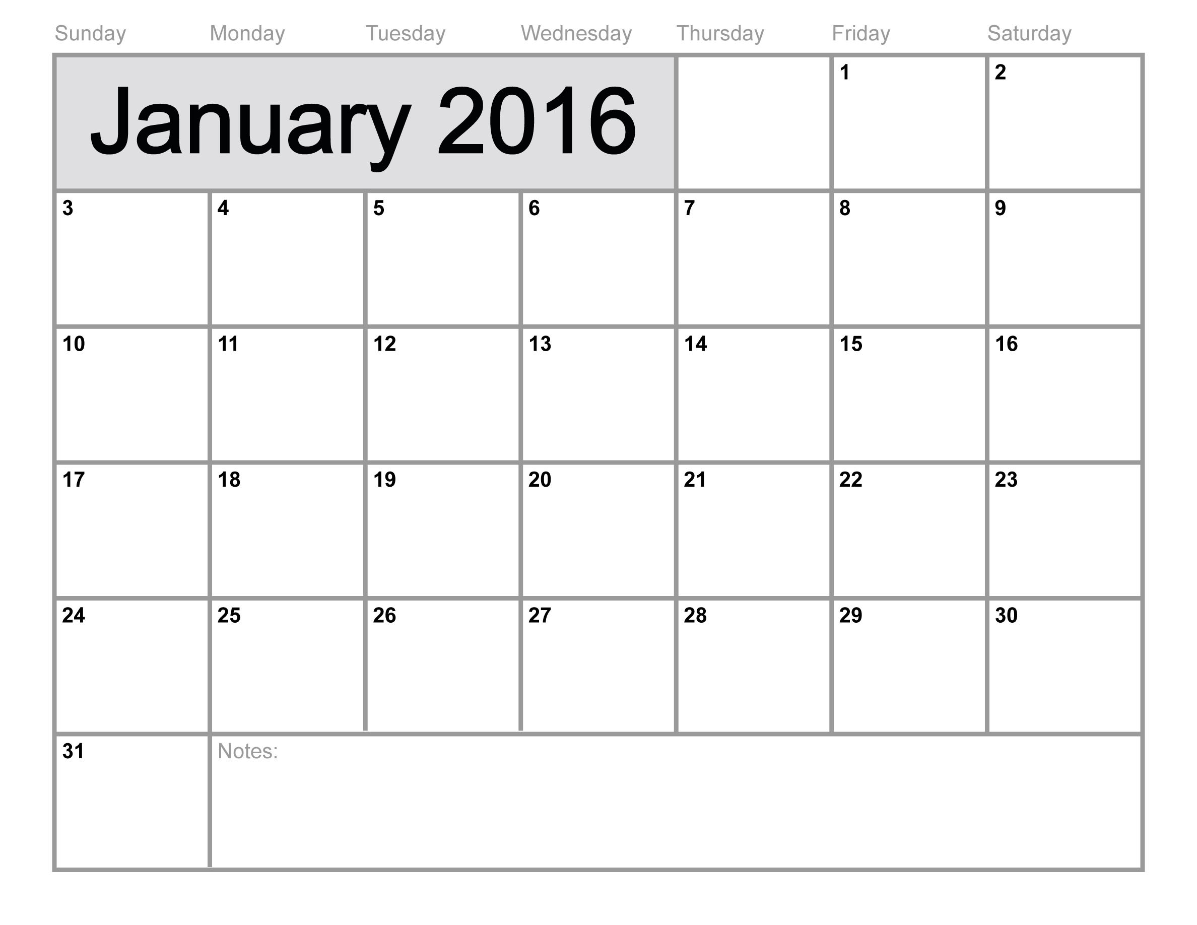 Free January 2016 Printable calendar