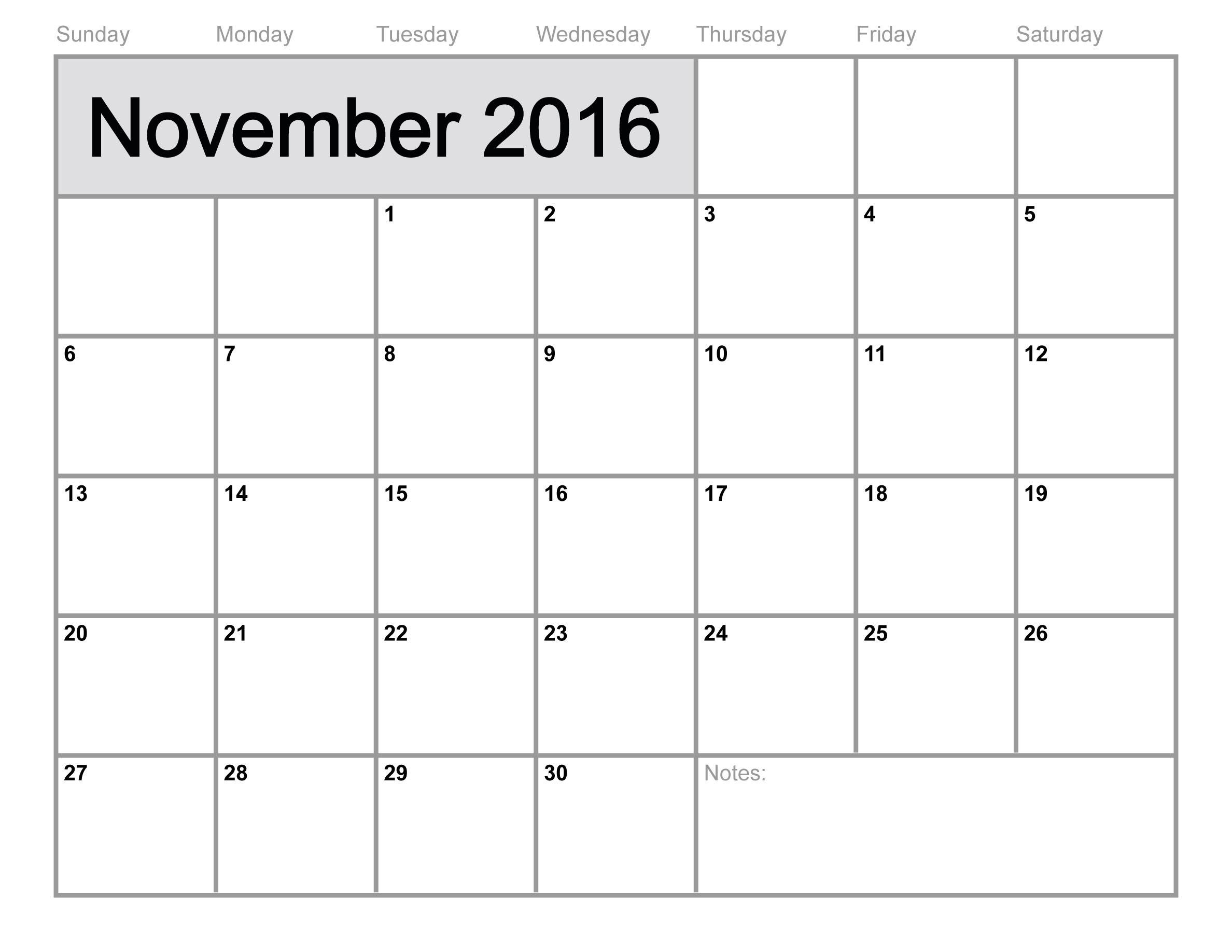 November 2016 Printable calendar | Printable Calendar Templates